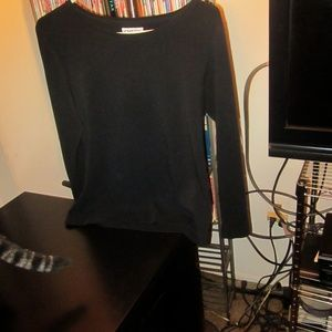 Chico's long sleeved cotton blend top black Sz 1